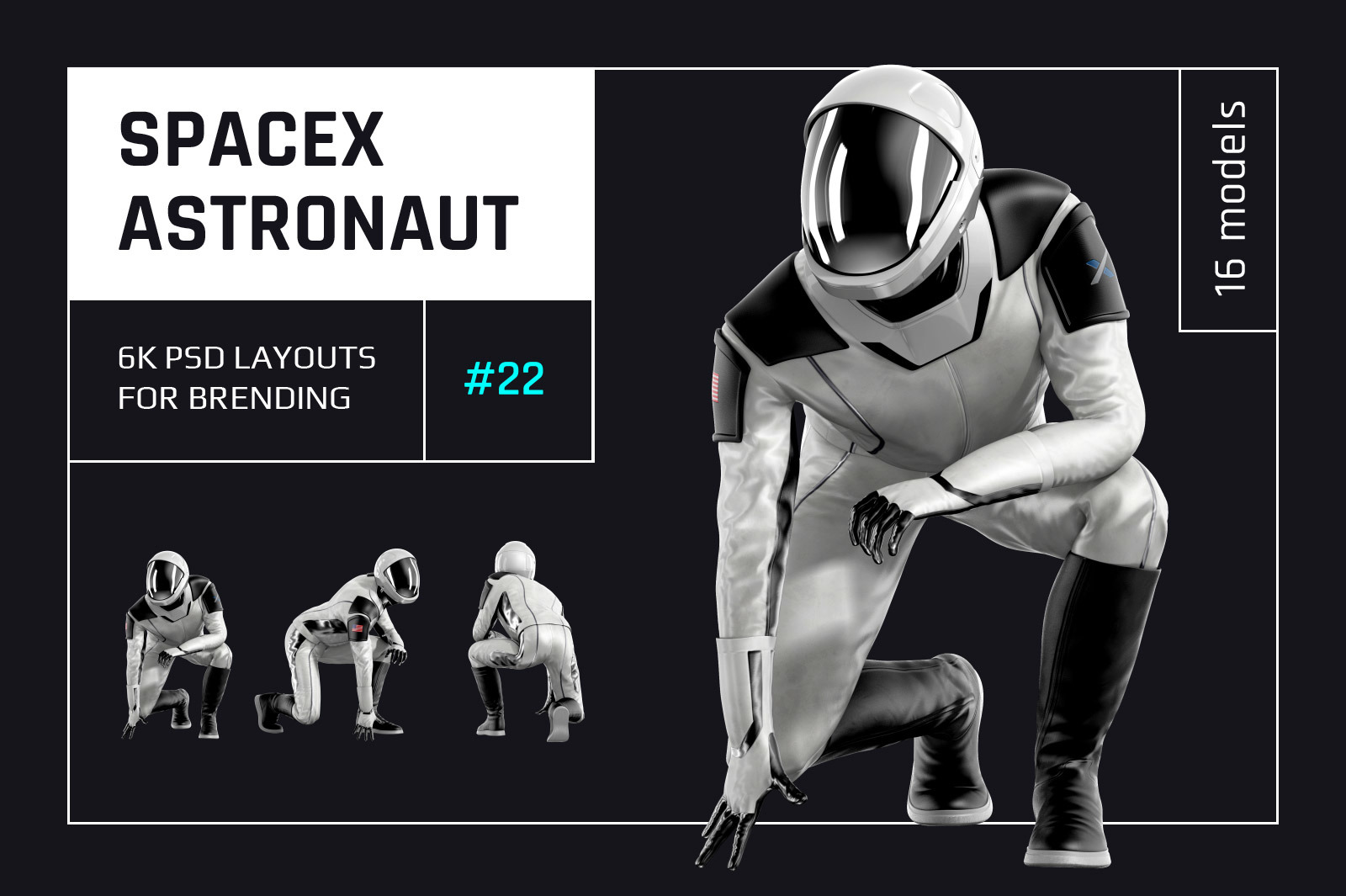 PSD Mockup 3D model SpaceX Astronaut #22
