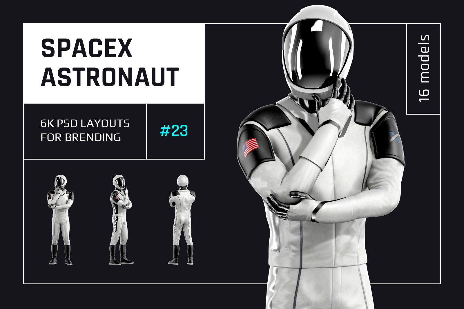 PSD Mockup 3D model SpaceX Astronaut #23