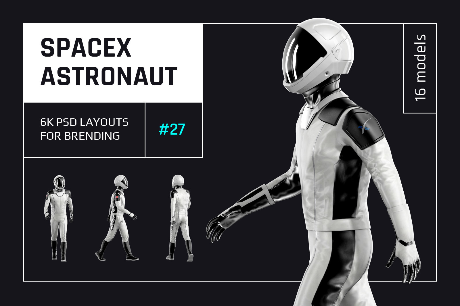 PSD Mockup 3D model SpaceX Astronaut #27