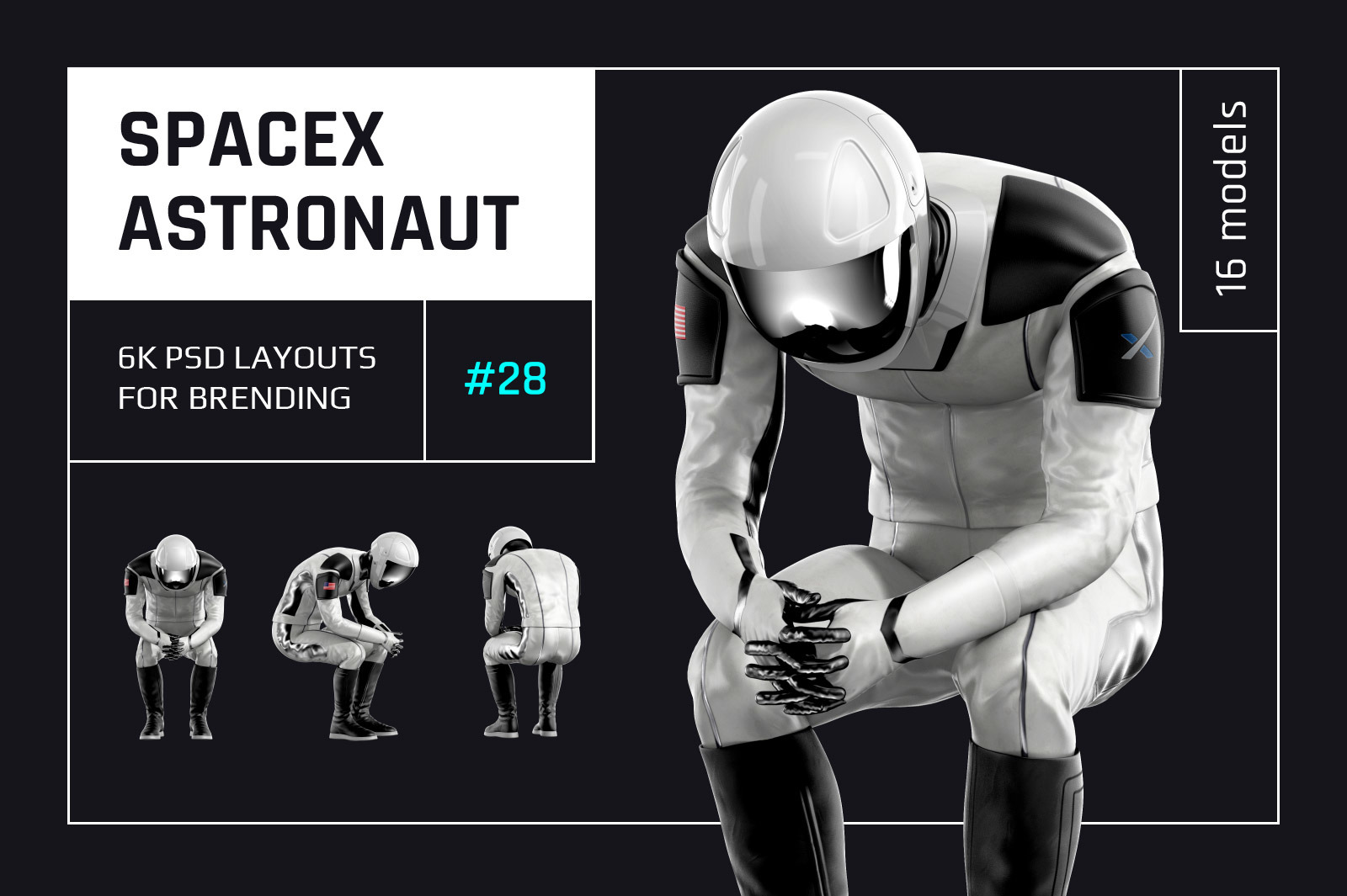 PSD Mockup 3D model SpaceX Astronaut #28