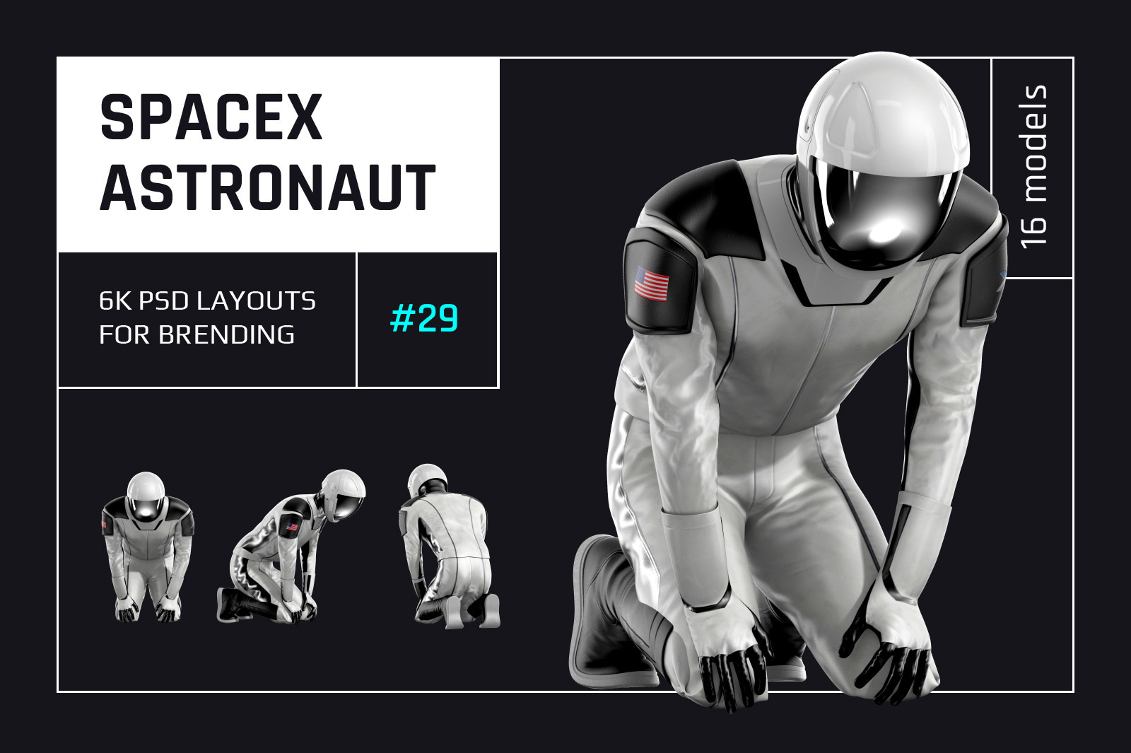 PSD Mockup 3D model SpaceX Astronaut #29