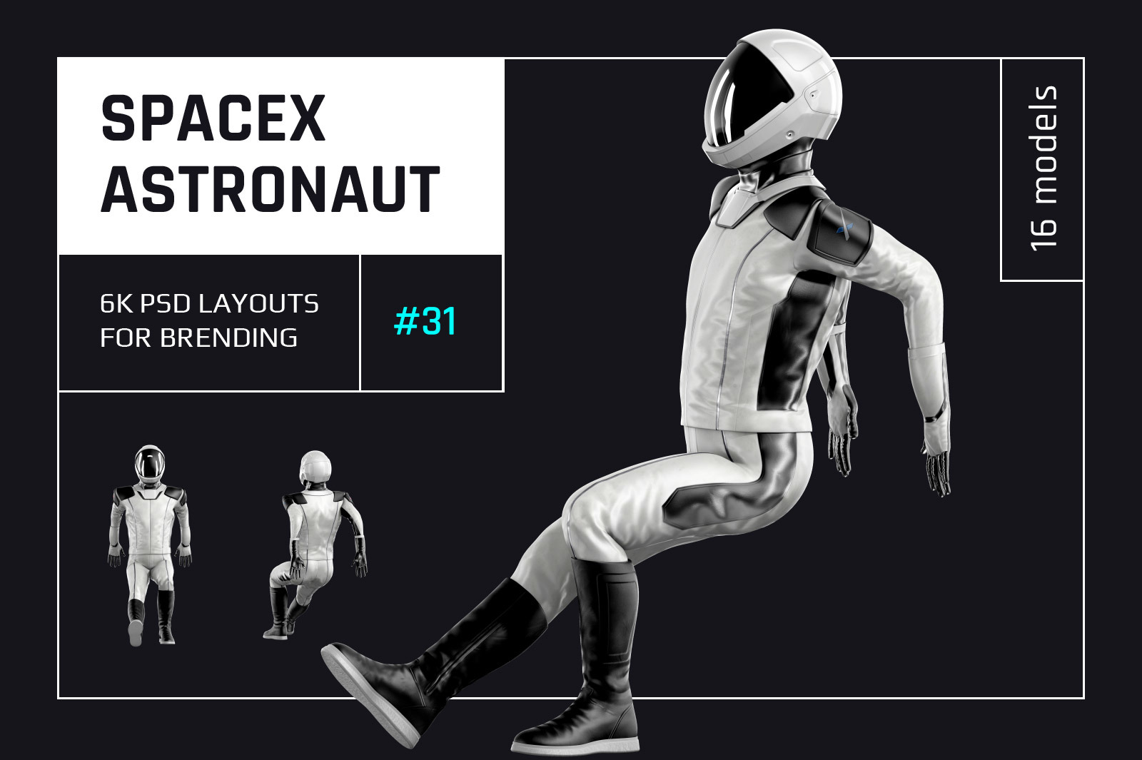 PSD Mockup 3D model SpaceX Astronaut #31