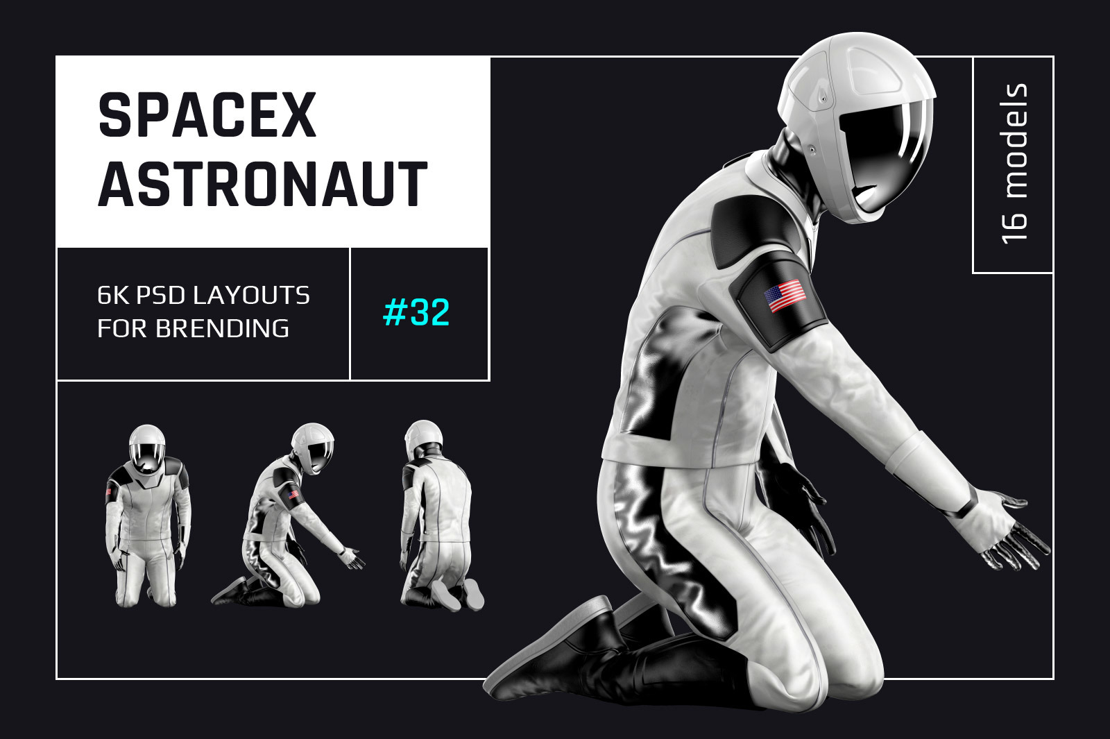 PSD Mockup 3D model SpaceX Astronaut #32