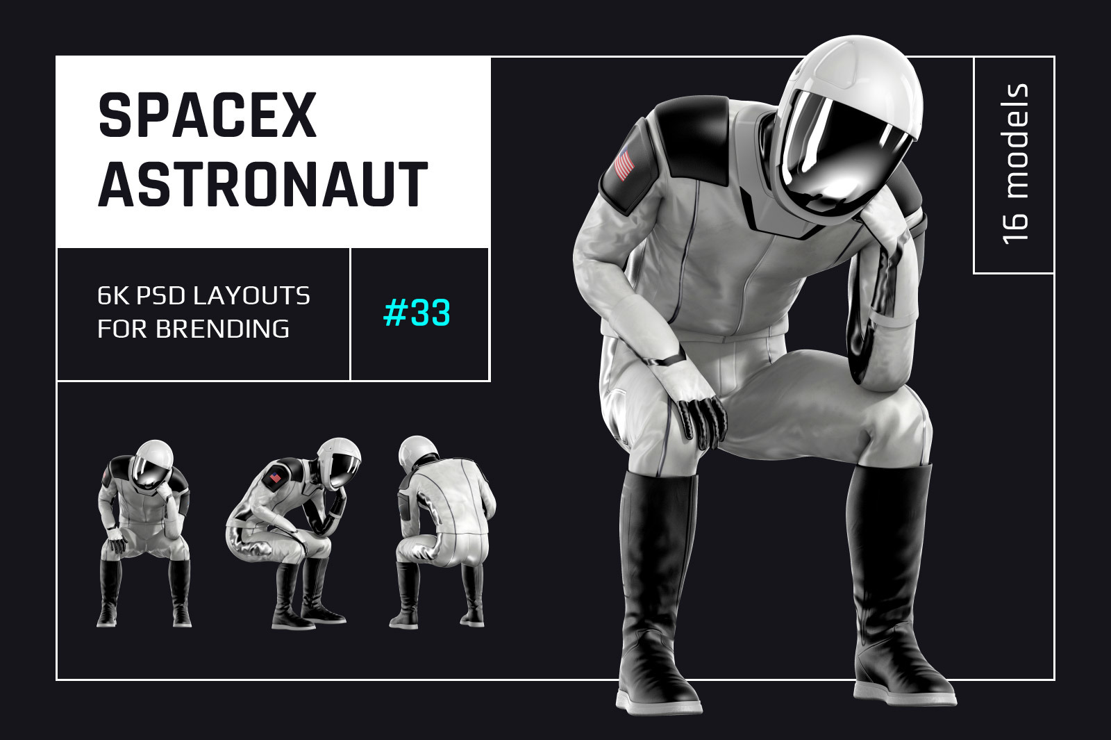 PSD Mockup 3D model SpaceX Astronaut #33
