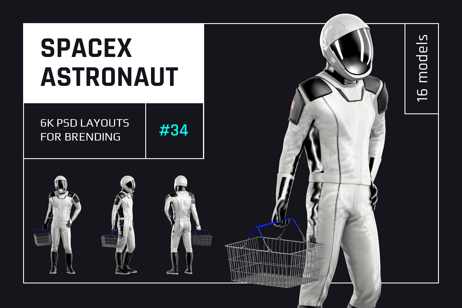 PSD Mockup 3D model SpaceX Astronaut #34