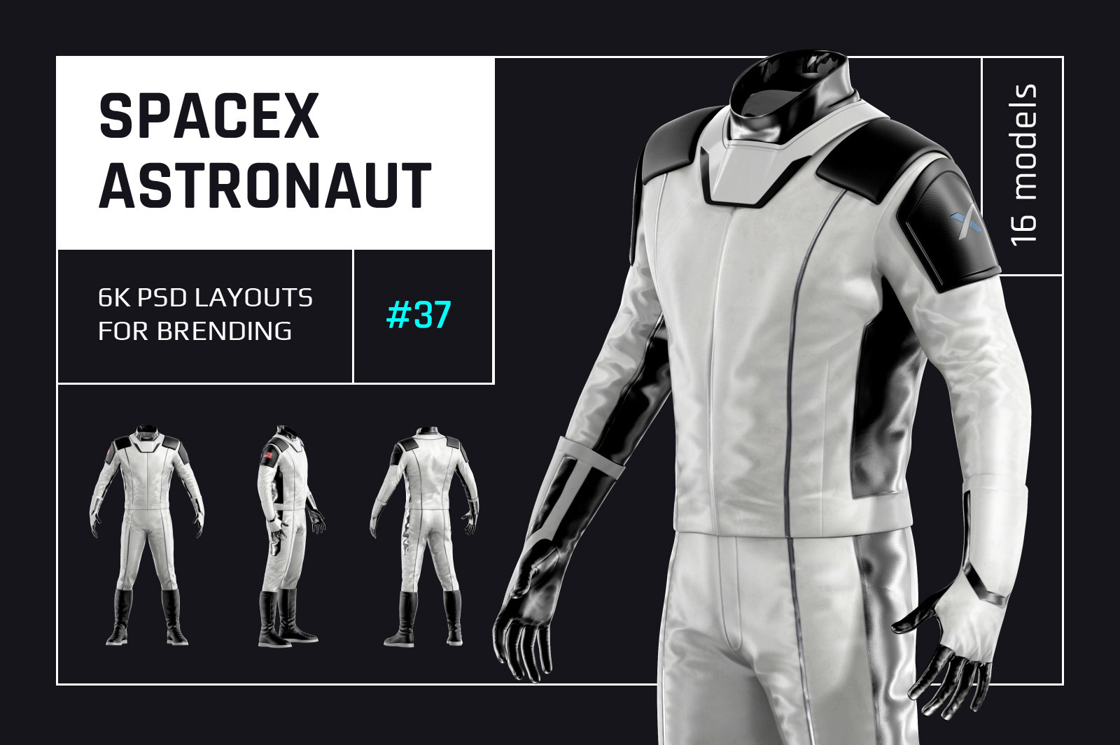 PSD Mockup 3D model SpaceX Astronaut #37