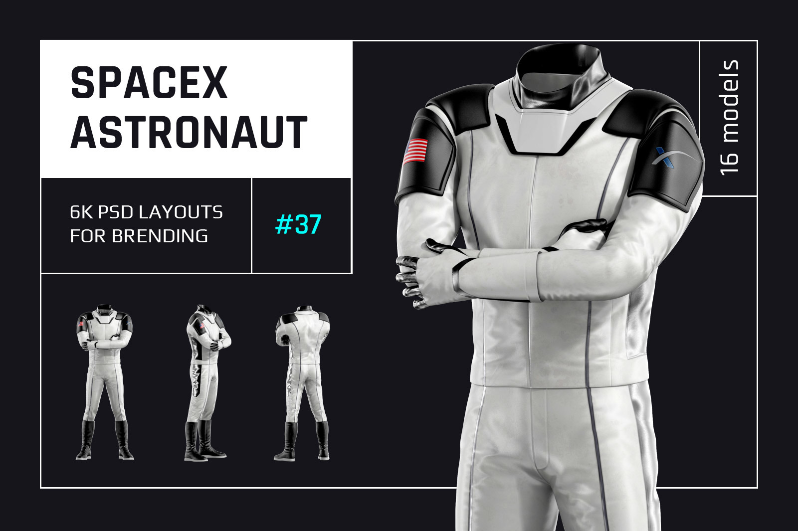 PSD Mockup 3D model SpaceX Astronaut #38