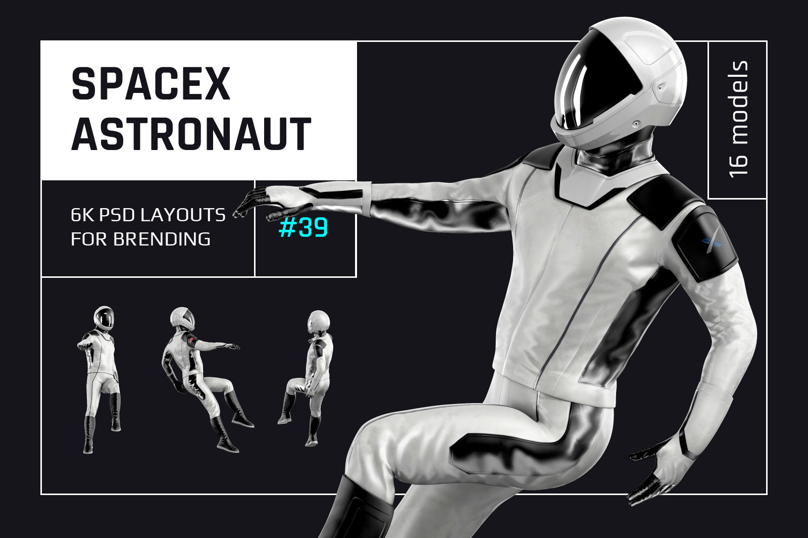 PSD Mockup 3D model SpaceX Astronaut #39
