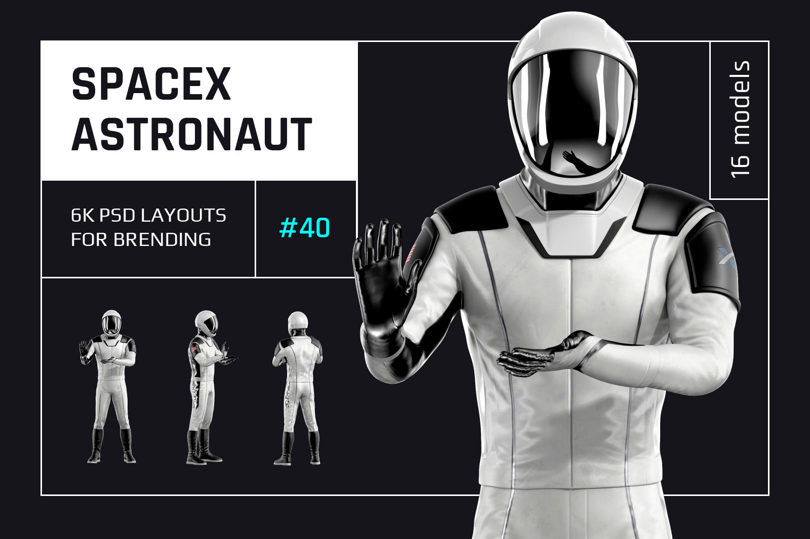 PSD Mockup 3D model SpaceX Astronaut #40