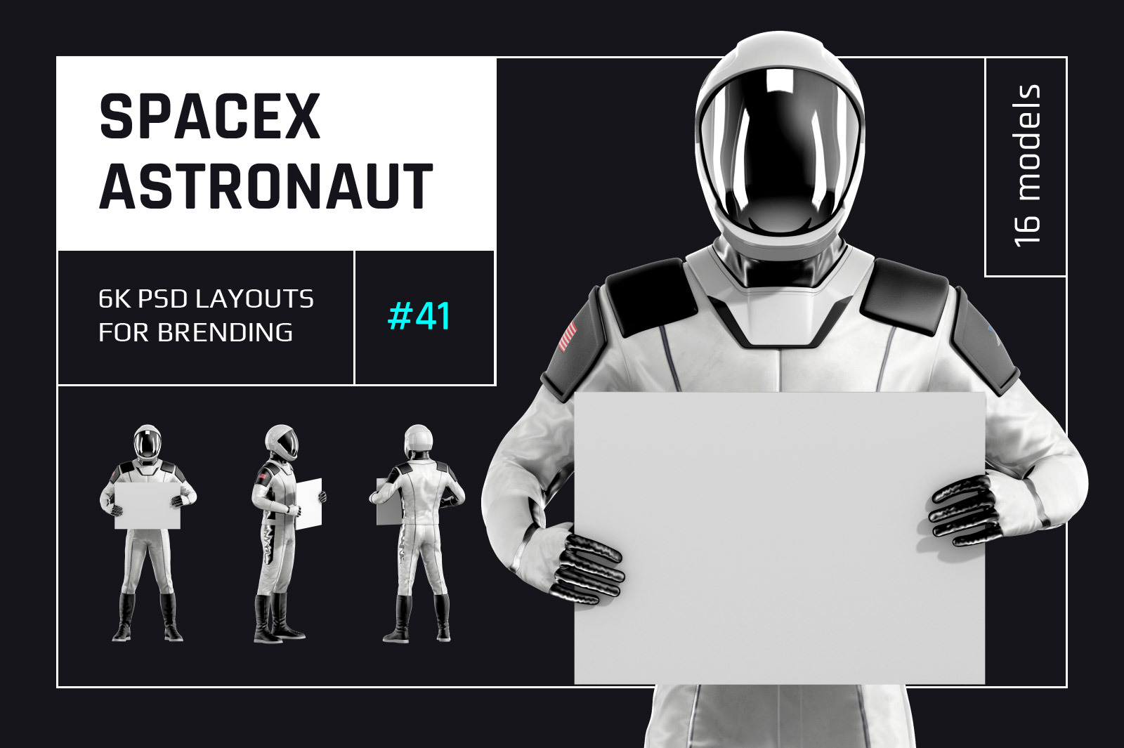 PSD Mockup 3D model SpaceX Astronaut #41
