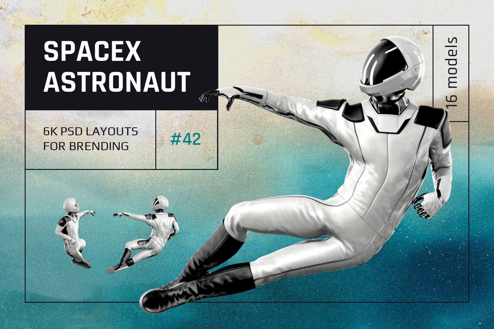 PSD Mockup 3D model SpaceX Astronaut #42