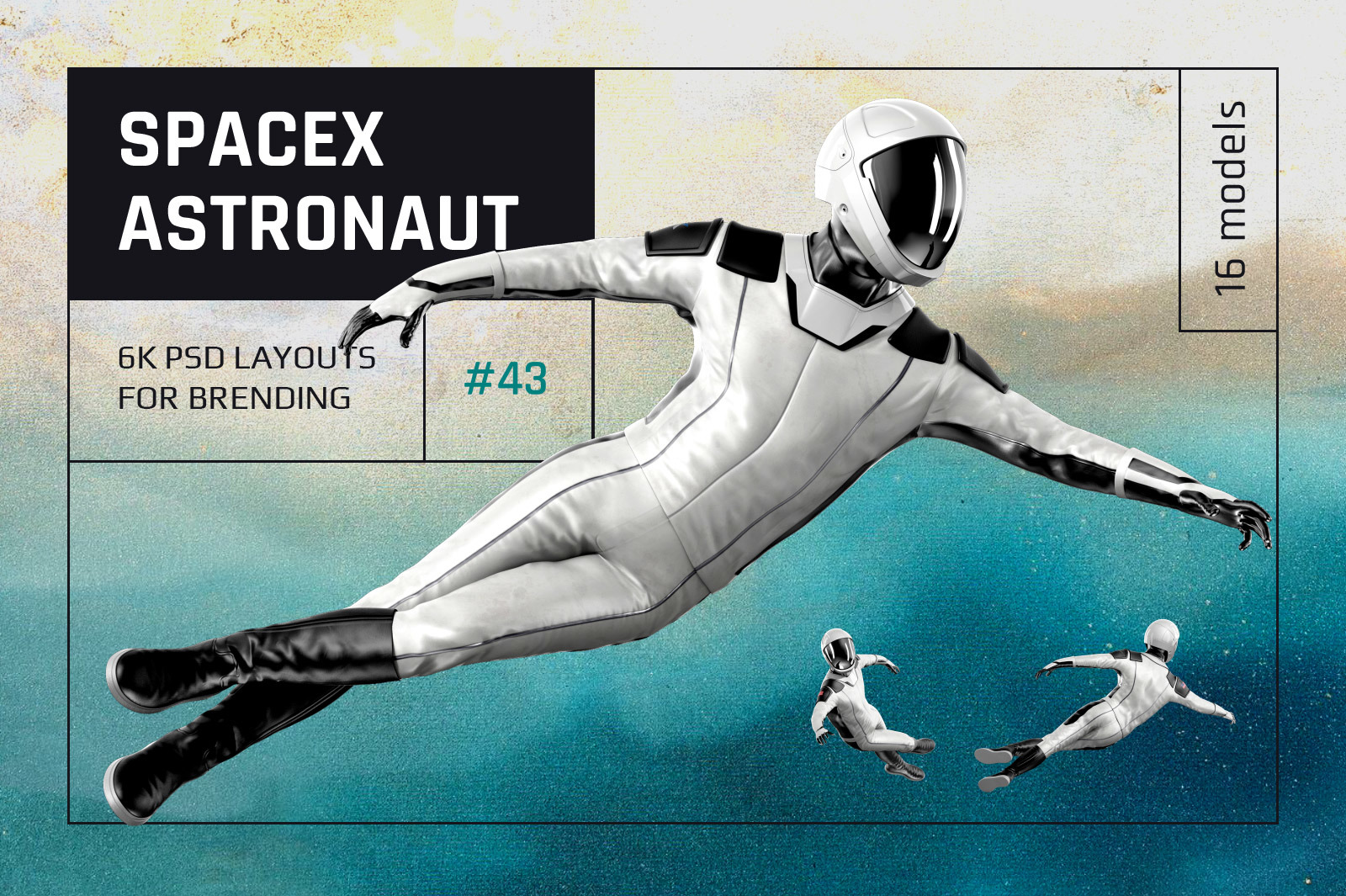 PSD Mockup 3D model SpaceX Astronaut #43