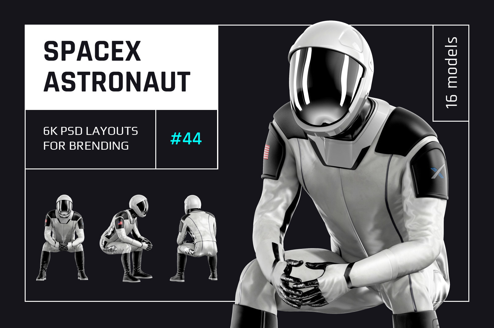 PSD Mockup 3D model SpaceX Astronaut #44
