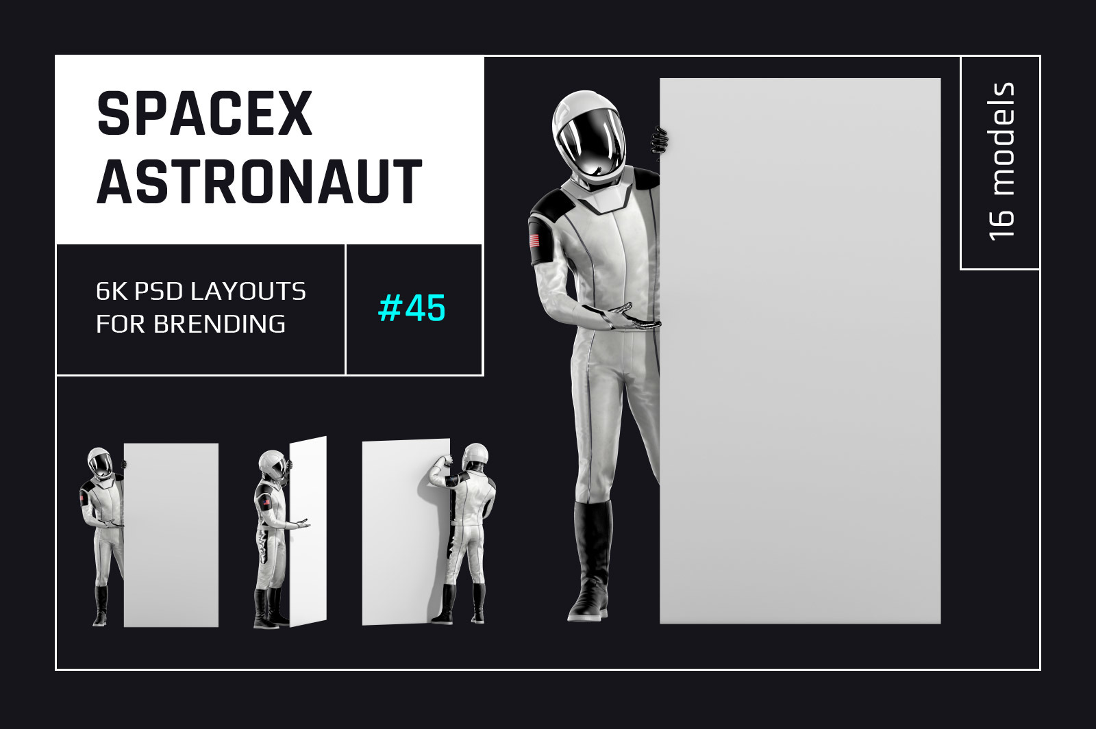PSD Mockup 3D model SpaceX Astronaut #45