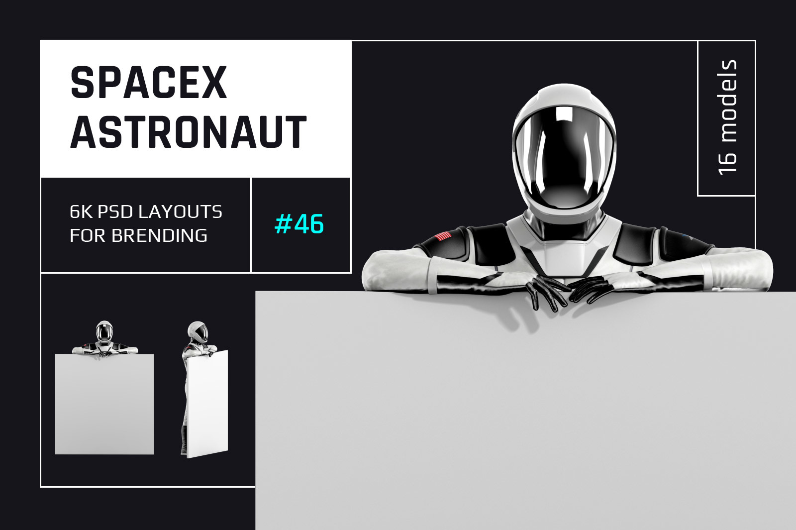 PSD Mockup 3D model SpaceX Astronaut #46