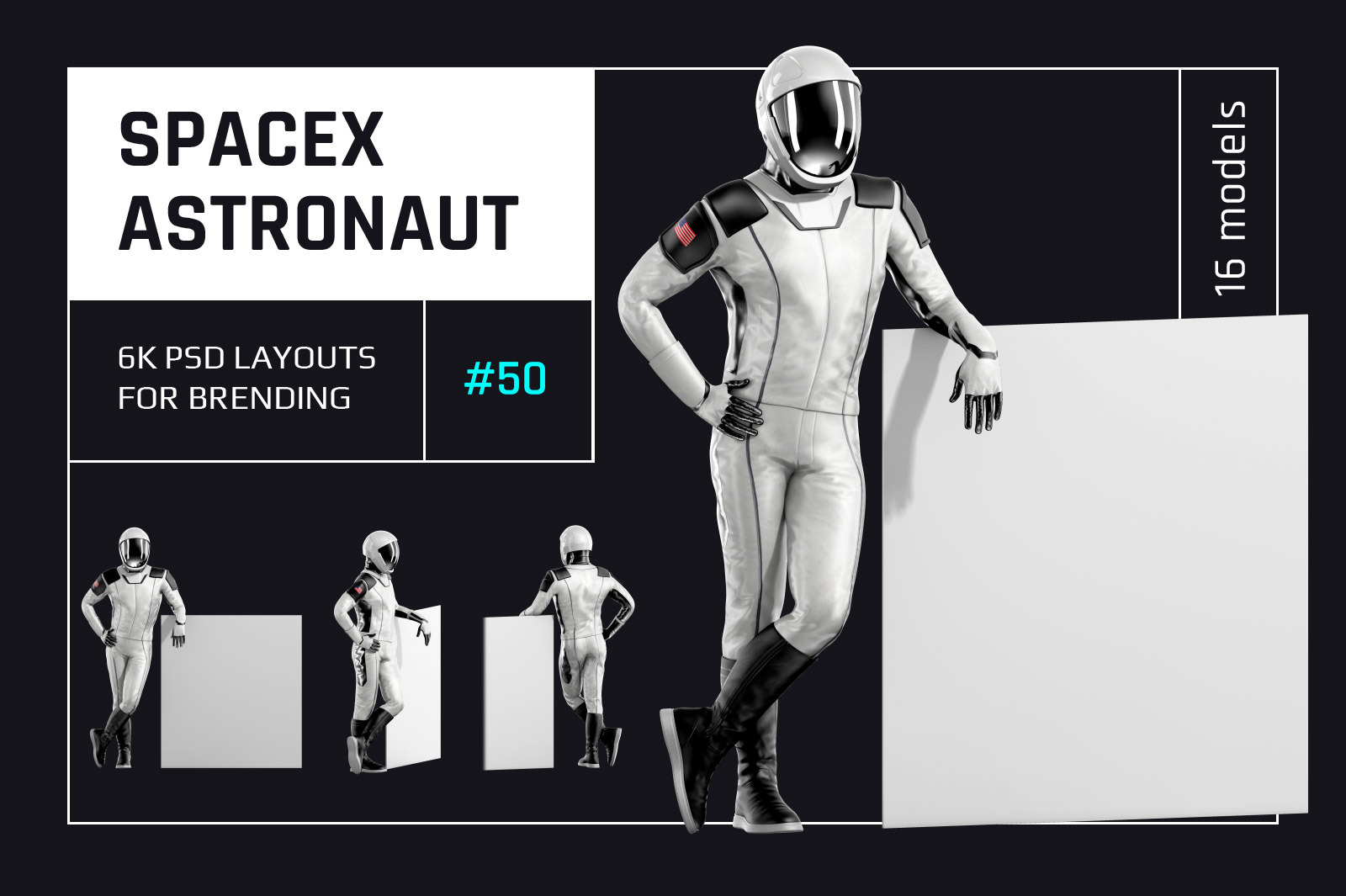 PSD Mockup 3D model SpaceX Astronaut #50