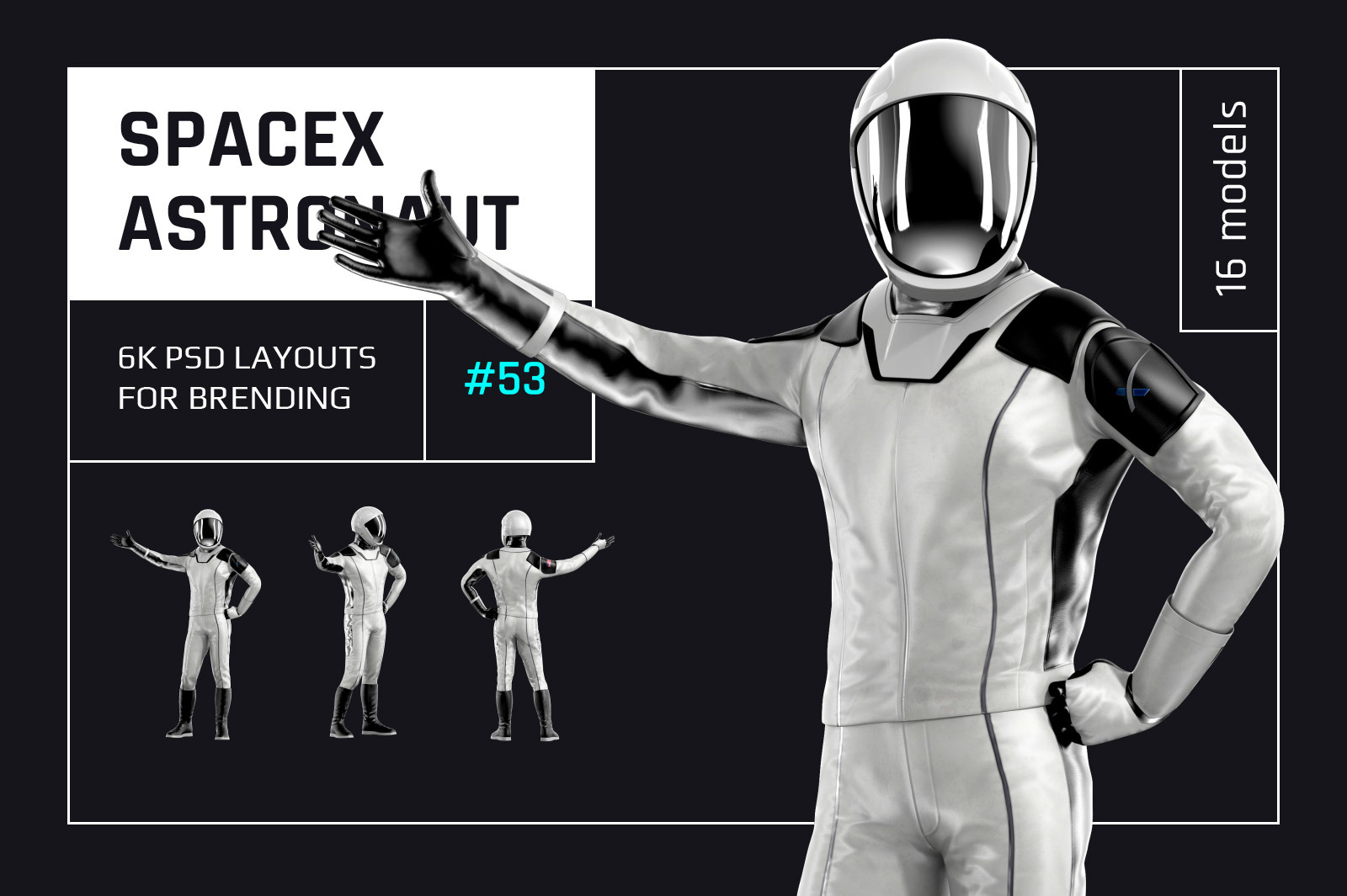 PSD Mockup 3D model SpaceX Astronaut #53