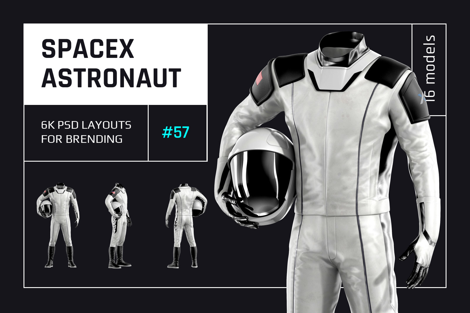PSD Mockup 3D model SpaceX Astronaut #57