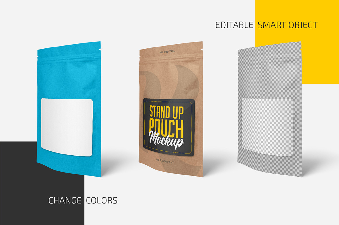 Kraft Stand-Up Pouch with Zipper Mockup Set