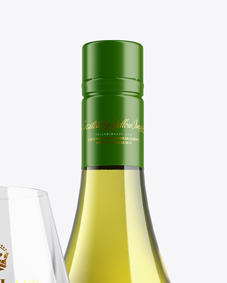 Antique Green Wine Bottle With Glass Mockup