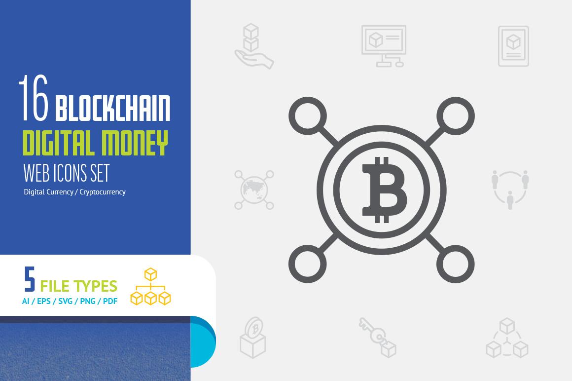 Blockchain digital money icons pack. flat line design vector.