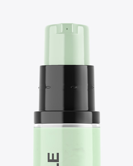 Opened Clear Cosmetic Bottle with Pump Mockup