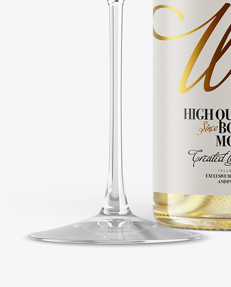 Clear White Wine Bottle With Glass Mockup