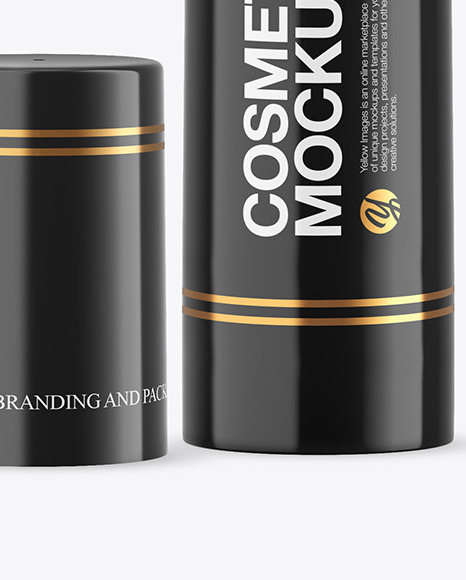 Opened Glossy Cosmetic Bottle with Pump Mockup