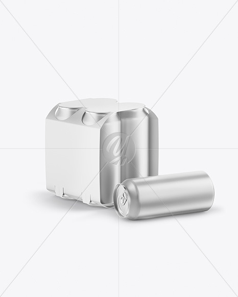 Carton Carrier W/ 4 Matte Metallic Cans Mockup