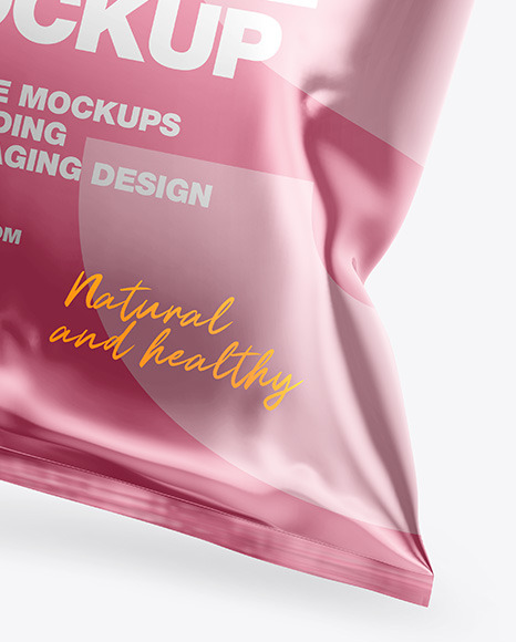 Glossy Metallic Snack Package Mockup