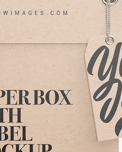 Kraft Paper Box with Label Mockup