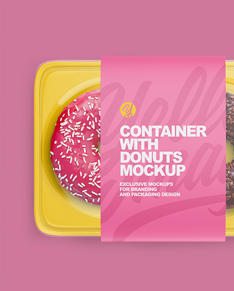 Container with Donuts Mockup