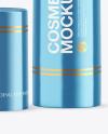 Opened Metallic Cosmetic Bottle with Pump Mockup
