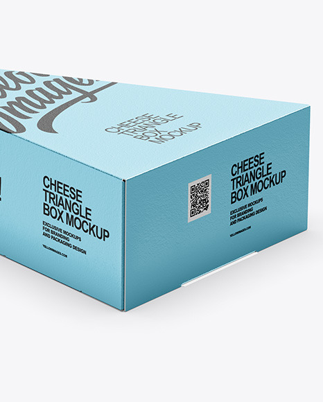 Matte Metallic Cheese Triangle Box Mockup