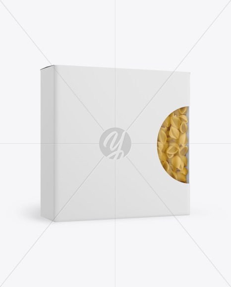 Paper Box With Conchiglie Pasta Mockup