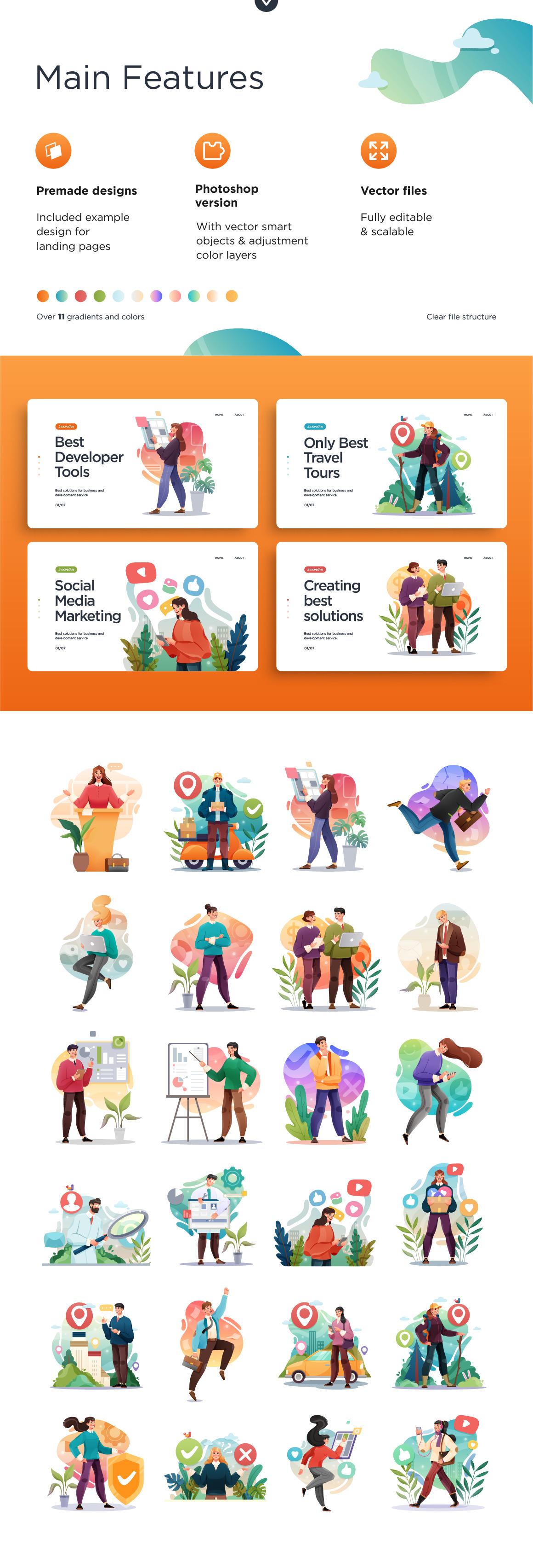 Travel Delivery & Business Illustrations Set