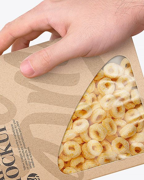 Paper Box With Cereals Mockup