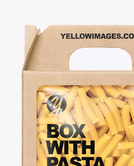 Kraft Box with Tortiglioni Pasta Mockup