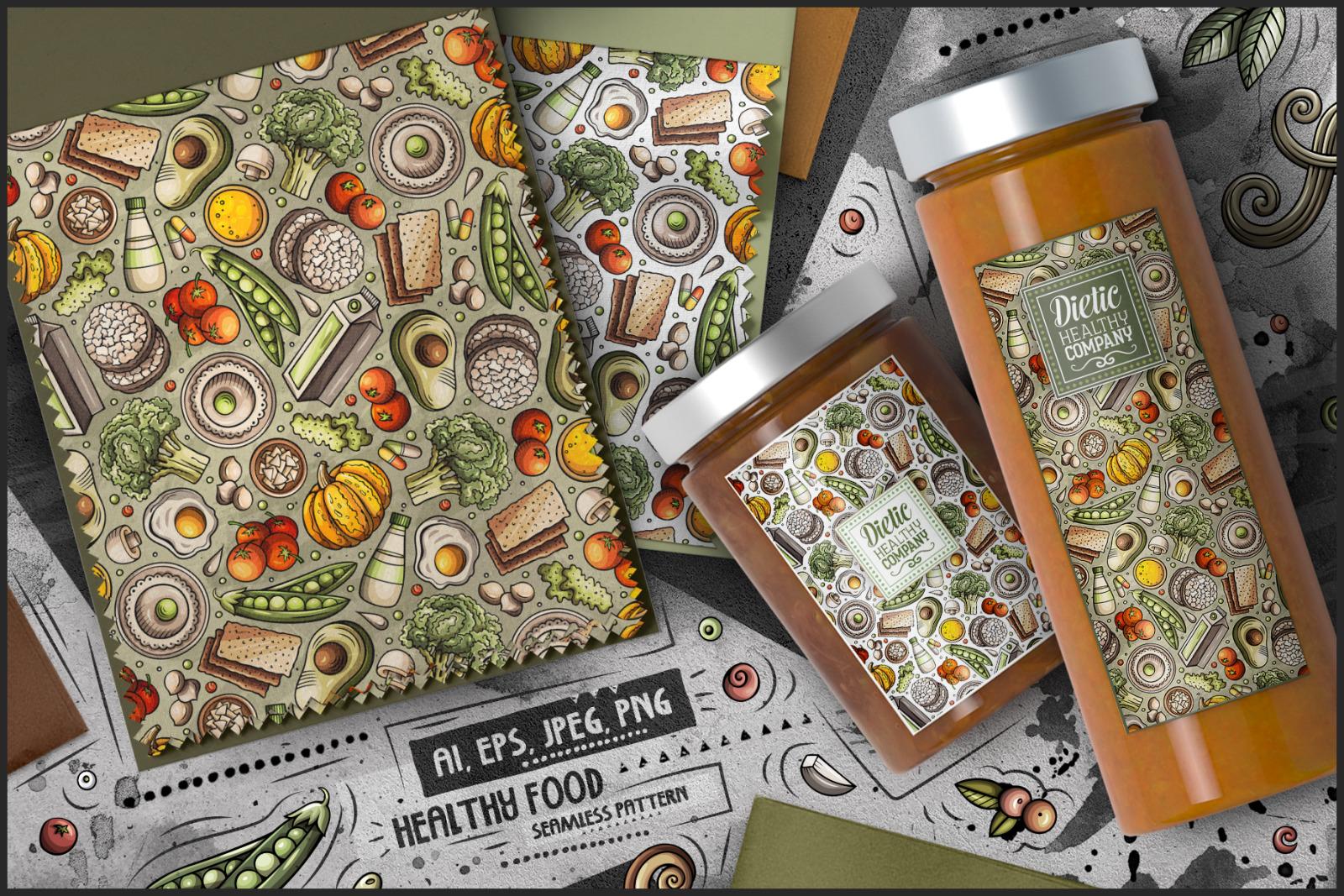 Diet Food Cartoon Seamless Patterns