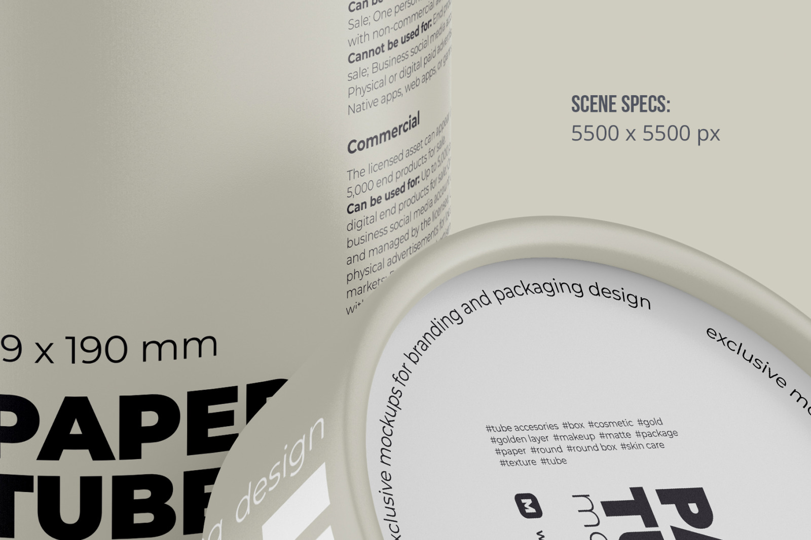 Opened Paper Tube Mockup 99x190mm