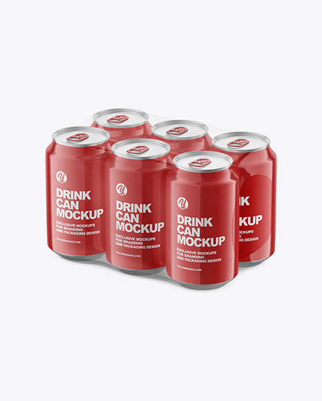 6 Pack Glossy Cans Mockup