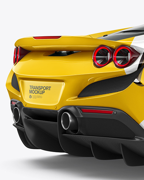 Sport Car Mockup - Back Half Side View