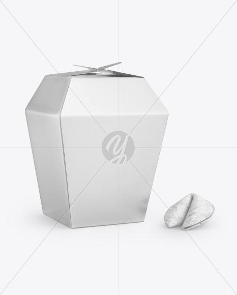 Metallic Paper Box w/Fortune Cookies Mockup