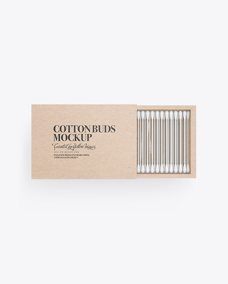Kraft Paper Box With Cotton Buds Mockup