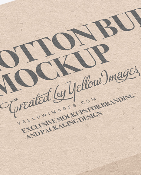 Kraft Paper Box With Cotton Buds Mockup