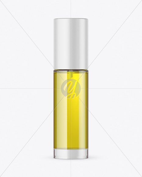 Clear Glass Cosmetic Bottle with Pump & Oil Mockup