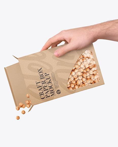 Paper Box With Corn Balls Mockup