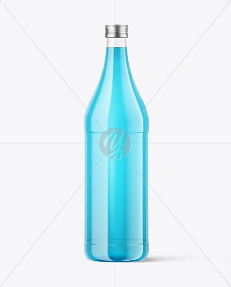 1L Glass Colored Drink Bottle Mockup