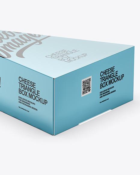 Glossy Metallic Cheese Triangle Box Mockup