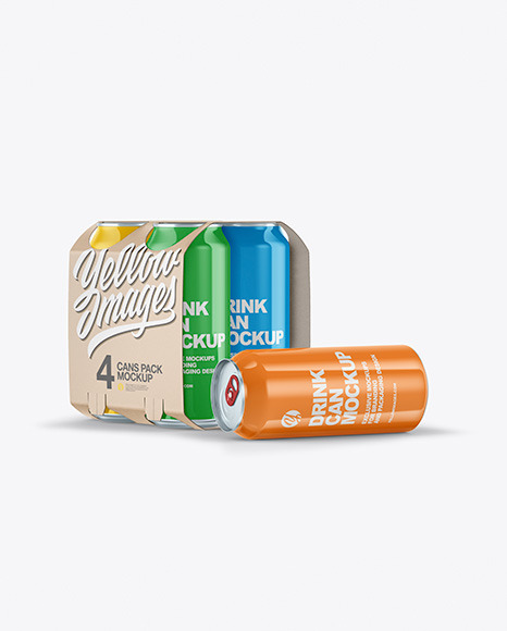 Carton Carrier W/ 4 Glossy Cans Mockup